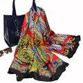 2017 Nuevas Mujeres de La Moda Nuevo Diseño de Invierno de Seda Bufanda de Seda Grande de Tres Colores SquareTowel Aire cConditioning Mantón CUADRADOS