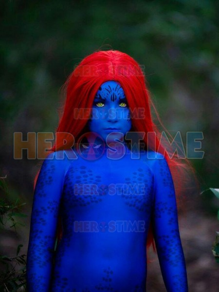 Mystique Kids Cosplay Costume 3D Printed Spandex Zentai Bodysuit Halloween Costumes for Girl Kids Hot Sale