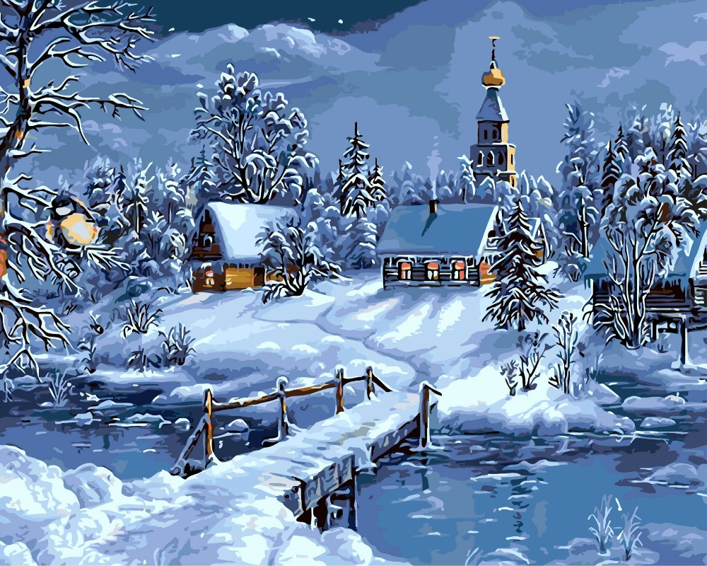 Landscape Frameless Pictures Painting By Numbers wall pictures for living room hand painted canvas oil paintings Snow hut thumbnail