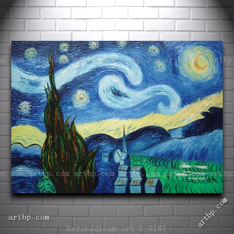 The Starry Night Van Gogh Reproduction Oil Painting Post Impressionism Canvas Painting Ideas Realistic Abstract Painting In Painting Calligraphy From Home