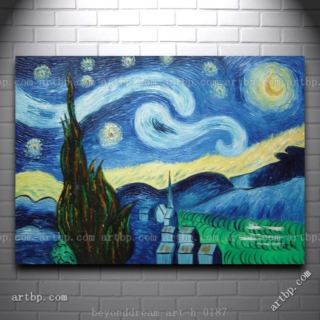The starry night van gogh reproduction oil painting post for Oil painting ideas abstract