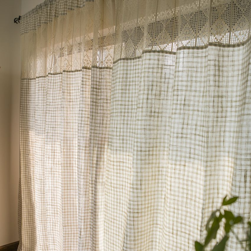 Mediterranean Style Small Plaid Curtain For Living Room With Crochet  Decoration Curtain