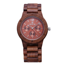 SKONE Luxury  Brand Men Dress Watch Wooden Quartz Watch with Calendar Display Bangle Natural Wood Watches Best Gift