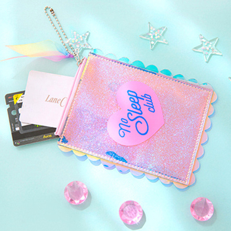 Kawaii Sequins Girl Coin Purse Pocket Bag Mini Storage Pouch For Card Holders Earphone Case Cute Lolita Lace Wallet Money Bag