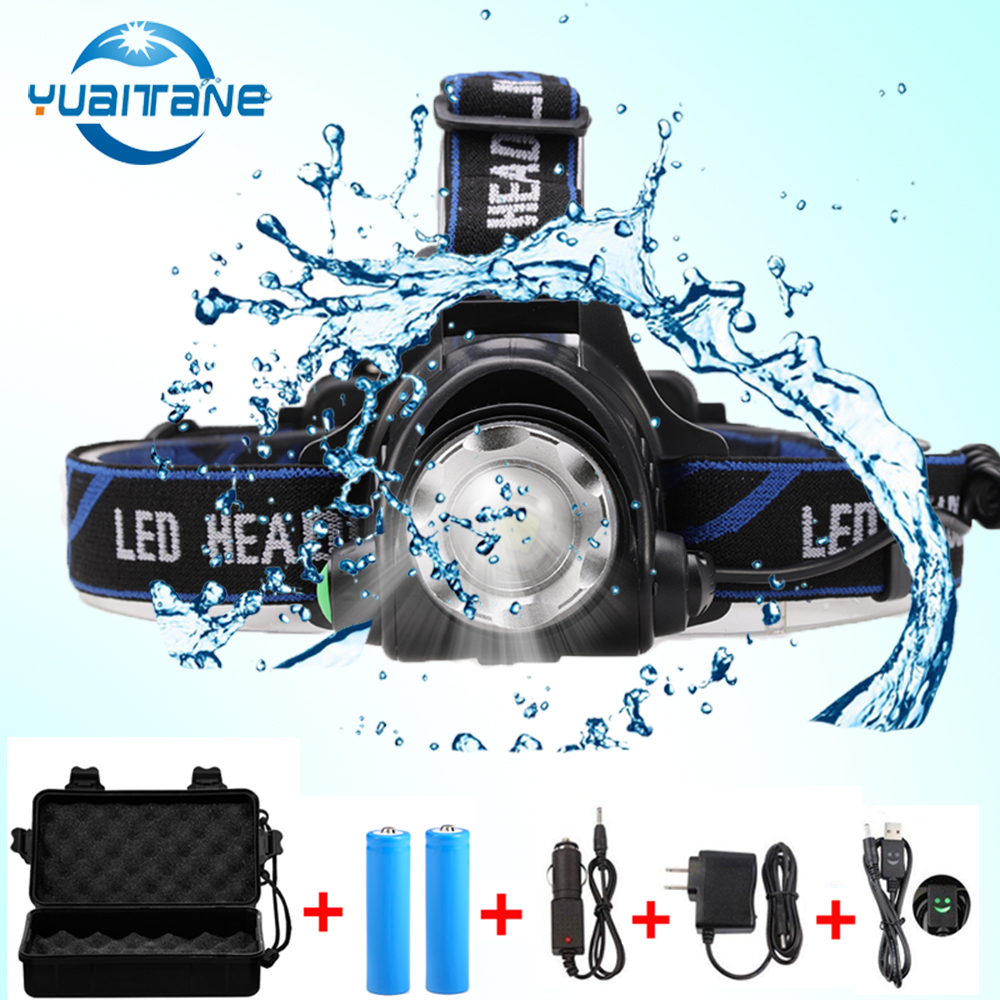 RU 10000LM Led Headlamp CREE XML-L2/T6 Zoomable Headlight Head Torch flashlight Head lamp+2*18650 battery+DC/AC Charger+gift box фонарик ultrafire cree xml t6 cree xml t6 zoomable 2000lm 2 18650 dc fl028b bt021