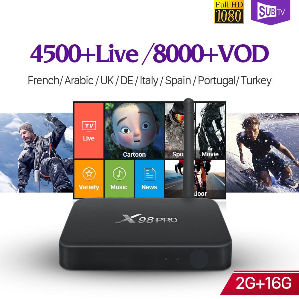 SUBTV IPTV Subscription Box Android 6.0 2G 16G WIFI HD TV Receivers X98 Pro with IPTV France Belgium Canada Arabic Turkey IP TV smart 4k x98 pro tv box android 6 0 2g 16g amlogic s912 subtv iptv subscription 8000 vod iptv europe french arabic iptv box