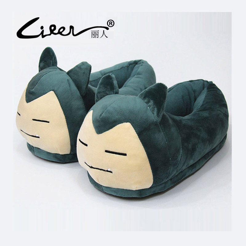 LIREN Winter Woman Indoor Warm Animal Cartoon Pokemon Slippers Women Home Pikachu Go Plush Shoes Mens Pikachu Fluffy Slippers 2017 totoro plush slippers with leaf pantoufle femme women shoes woman house animal warm big animal woman funny adult slippers page 8