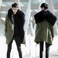 2017 moda casaco quente dos homens Coreano Magro personalizado de pelúcia com capuz casaco de inverno