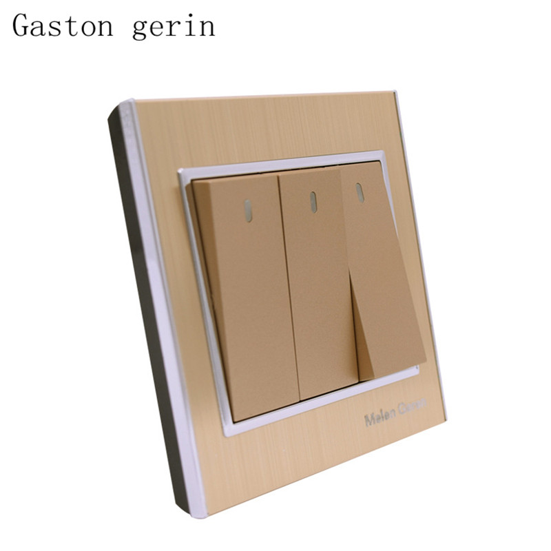 Push button home switch socket 3 Gang 1 Way 10A 220V 86 type wall switches with led indicator luxury brushed aluminum alloy in Switches from Lights Lighting