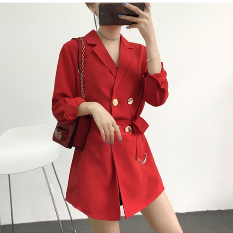 Polyester With Belt Suits Women Blazer Double Breasted Women Blazers And Jackets Long Blazer Women Work Office Fashion 2018 Red