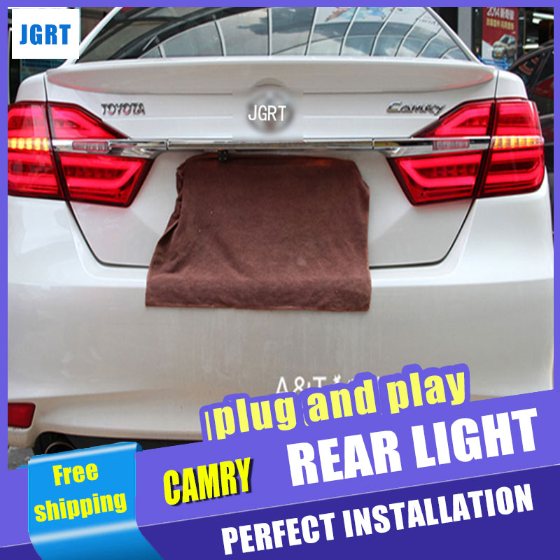Car Styling for Toyota Camry Taillights 2015 New Camry V55 LED Tail Light Rear Lamp DRL+Brake+Park+Signal special car trunk mats for toyota all models corolla camry rav4 auris prius yalis avensis 2014 accessories car styling auto
