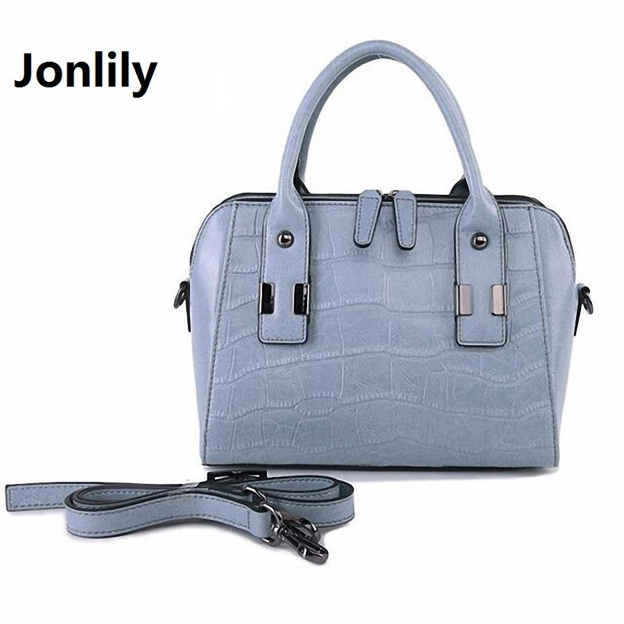 цена на Jonlily Large genuine Leather Tote Bag 2017 Luxury Women Shoulder bags crocodile Women Bag Brand Handbag Bolsa Feminina-LI-170