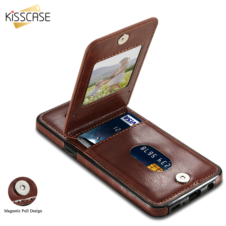KISSCASE Leather Flip Case For Samsung Galaxy S8 S8 Plus Card Holder Back Flip Cover For Samsung S6 S7 Edge S9 Plus Wallet Cases