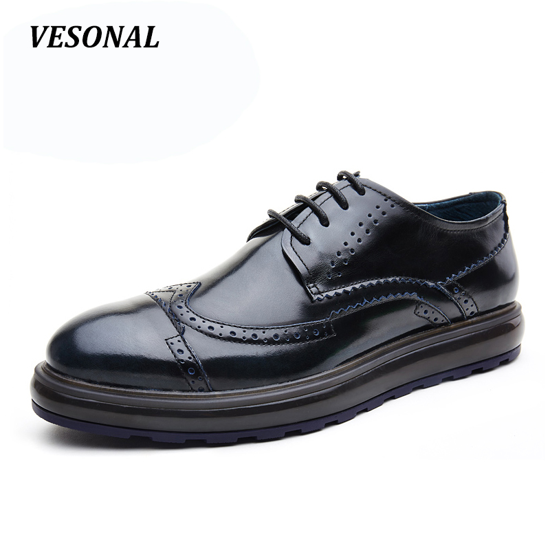 VESONAL Vintage Designer Patchwork Platform 100% Genuine Leather Business Dress Men Shoes Brogue Classic Mens Shoes Casual mens oxford shoes genuine leather custom made lace up men classic designer dress brogue shoes platform wedding shoes men
