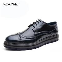 VESONAL Vintage Designer Patchwork Platform 100 Genuine Leather Business Dress Men Shoes Brogue Classic Mens Shoes