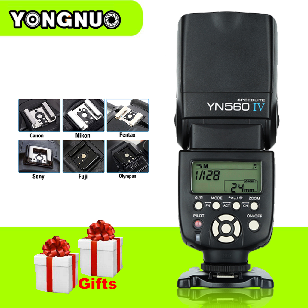 Yongnuo Universal YN560 IV LCD Flash Supports Wireless Radio Master Function Flash Speedlite For Canon Nikon Pentax Olympus Sony yongnuo yn560 iv yn560iv wireless master radio flash speedlite 2pcs rf 605c rf605 lcd wireless trigger for canon dslr cameras