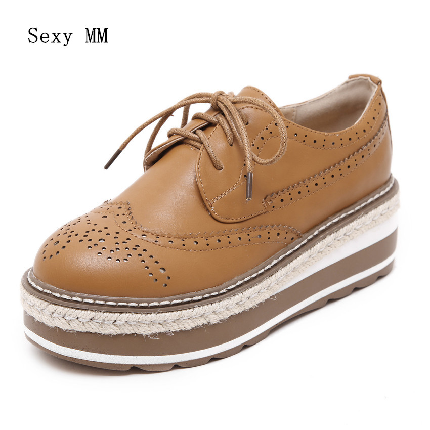 Genuine Leather Platform Oxfords Shoes Women Career Casual Flat Shoes Woman High Quality Womens Brogue Shoes bling patent leather oxfords 2017 wedges gold silver platform shoes woman casual creepers pink high heels high quality hds59