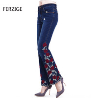 Women Embroidered Beaded Jeans Rhinestone Bell Bottom Flared Pants Elasticity Luxury Sexy Ladies High Waist Push Up Female Jeans 23