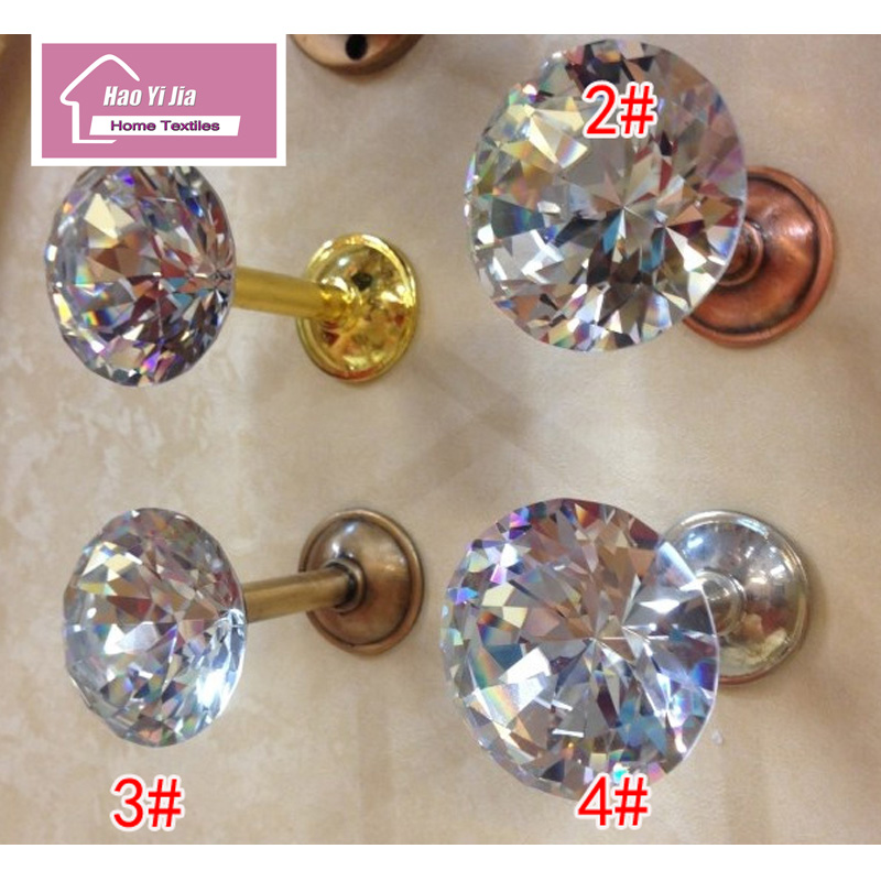 1 Pair Of High-grade Crystal Head Wall Hook Curtain Accessories Four Colors Home Decoration Of Bronze