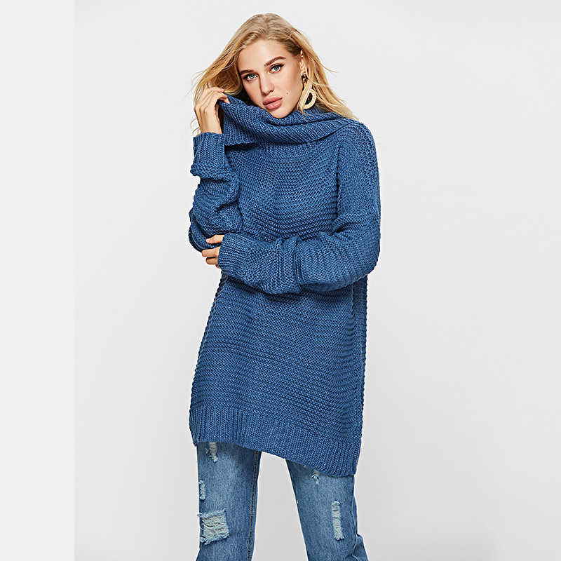 Afire Leaf Girls Sweater Winter New Turtleneck Sweaters Strong Colour Free Pullover Blue Free Modern Sweater Sueter Mujer