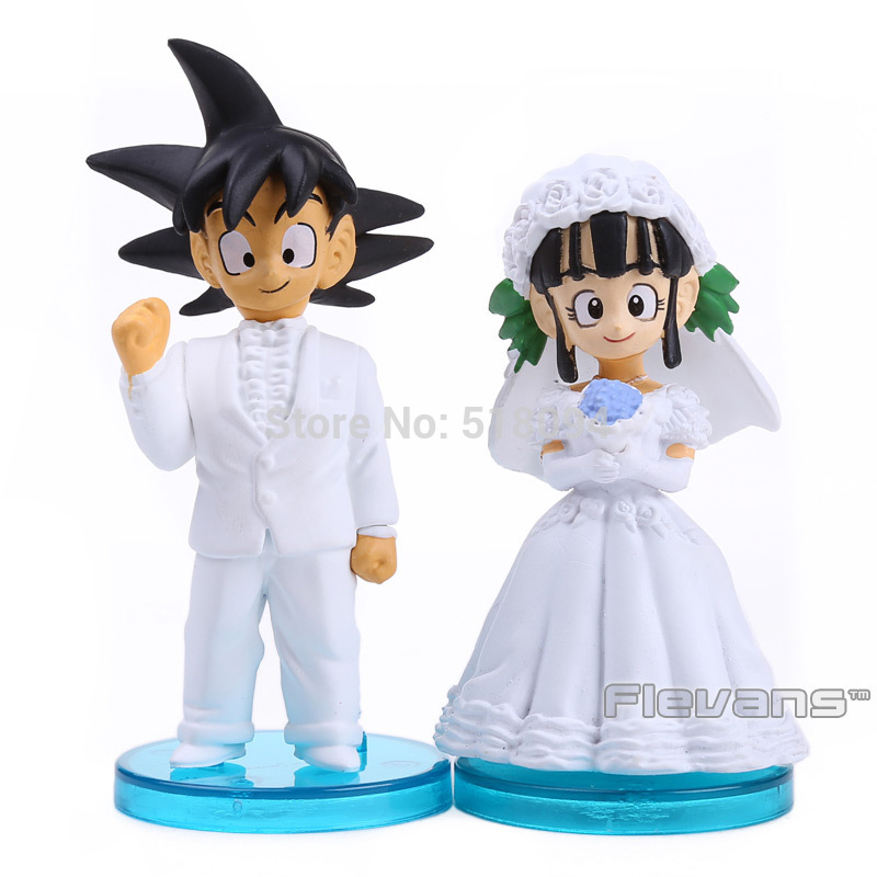 Anime Dragon Ball Son Goku and ChiChi Wedding Dolls PVC Figures Toys 8cm 2pcs/set sonny angel mini pvc figures animal series version 4 baby toys dolls 12pcs set 8cm dsfg352