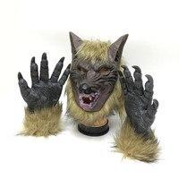 Cadılar bayramı Korkutucu maskeler Kurt Başkanı Şekilli iki eldiven ile Masquerade Maske Tam Yüz Maskesi Hayalet Maskesi Cadılar Bayramı festivaller için