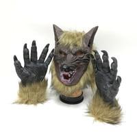 De halloween Scary máscaras Lobo Cabeza En Forma de Máscara de La Mascarada con dos guantes de Cara Completa Máscara Fantasma Máscara para fiestas de Halloween