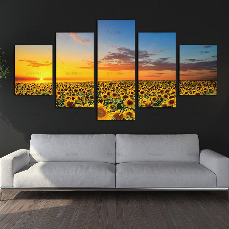 Poster Wall Picture Modern Oil Painting Sunflower Modular Canvas Art Landscape Sun Print and for Living Room Frameless 5pieces