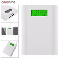 Soshine E3S 18650 Portable Power Source Bank with Dual USB + Battery Smart Charger with LCD Display for 3.7 Li ion 18650 Battery
