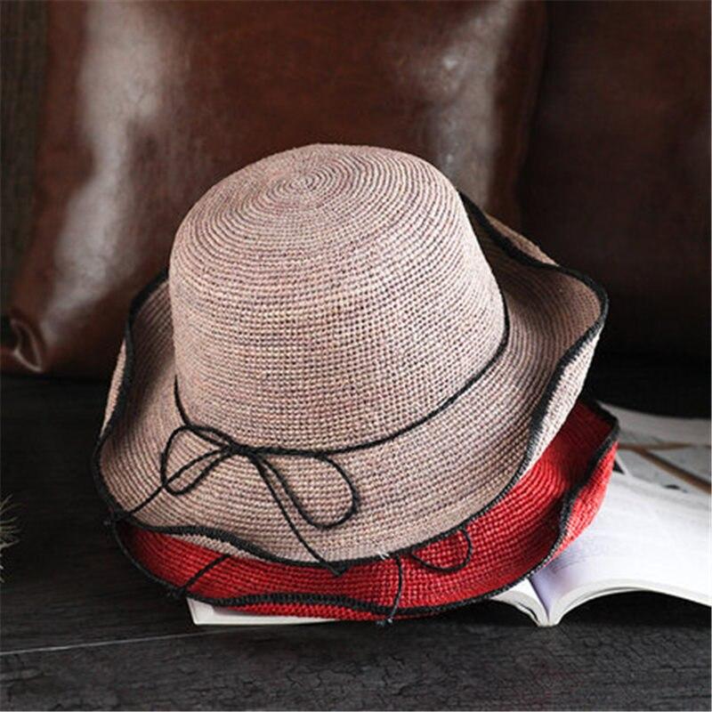 Paja Lafite sombrero femenino del verano Vacaciones de ocio recorrido sol sombrero visera fresco simple sombrero FX