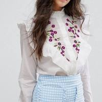 OYK6082 Za Women Foral Embroideried Ruffles Blouses White Flower Shirt Cotton Womens Camisa Loose Blusas Feminina