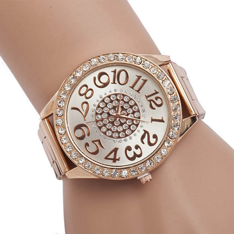 Fashion Women Stainless Steel Rhinestone Quartz Wrist Watch Round Dial Bracelet Watches LXH trendy letter heart round rhinestone bracelet for women