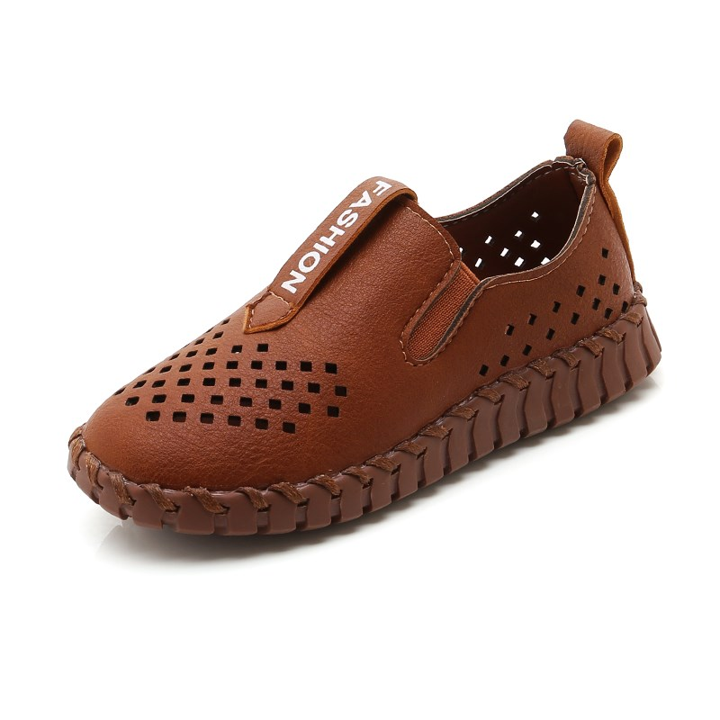 JGSHOWKITO Leather Shoes For Boys Show Performance Shoes Kids Sneakers Cut-outs Breathable All-Match Soft Boys Loafers Fashion