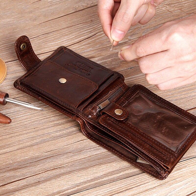 Zapatero leyenda Real de piel de vaca de cuero embrague Bifold Wallet de cuero genuino de los hombres es corta carteras monederos hombre ID tarjetas de crédito titular