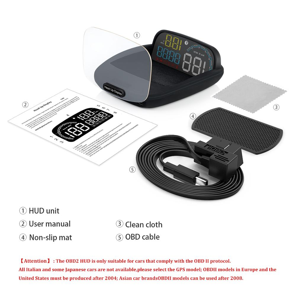 Image 2 - GEYIREN New Arrival Mirror HUD C600 Car Head up display Windshield Speed Projector Security Alarm Overspeed RPM Voltage-in Head-up Display from Automobiles & Motorcycles