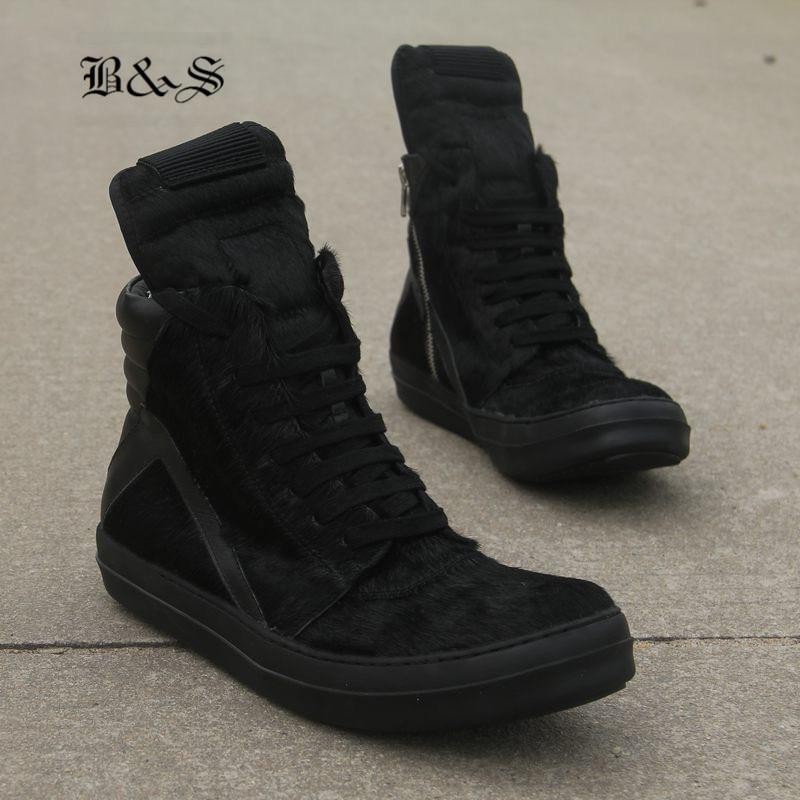 Sneaker Negro Fresca Boot Hop A Hip Oscuridad Roca Cuero Hechas Genuino Calle Completo Caballo Mano Lace Up Tendencia De Black Trainer Botas Piel Y rqIrR