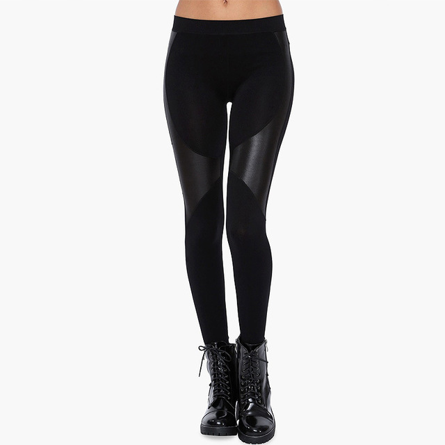 Slim Fit Sexy Stretch Patchwork Cotton Faux Leather Black Legging For Women  XS-2XL Top Quality Free Shipping