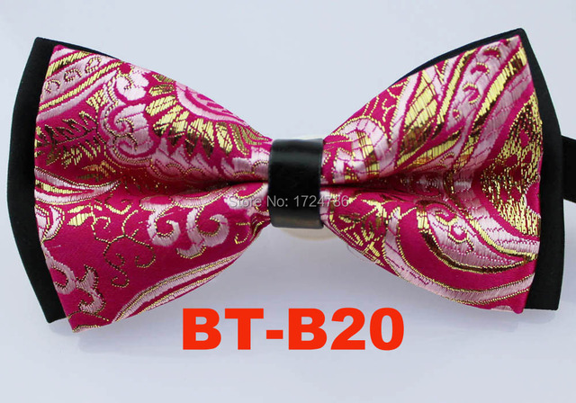 8453a86ee26b Kai Cheng Ties- Fuchsia Gold Bright Silk Floral Paisley/Black Background  Color Double Layer Bowtie Butterflys Adjustable BOWTIE