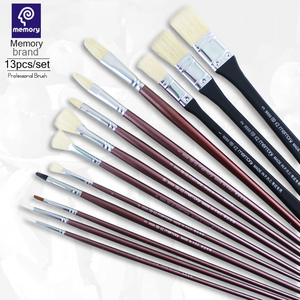 Memory brand 13Pcs Professional Paint brush Bristles Set with Wooden Handle Paintbrush for Watercolor