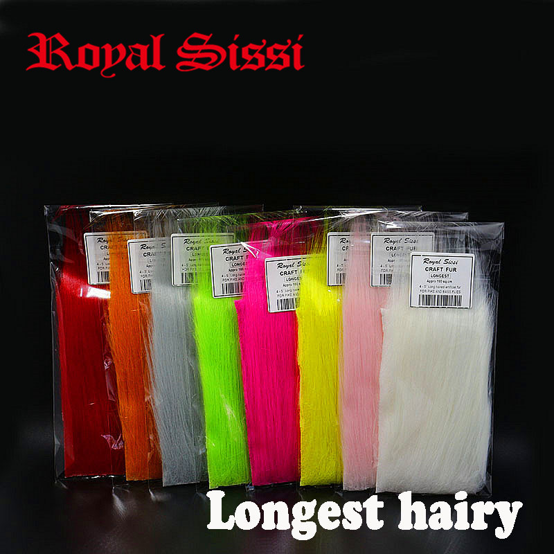8 pack/set longest haired artificial craft fur fluffy long synthetics fibers fly tying material for salmon &pike streamer flies