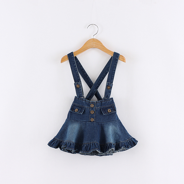 Baby girl summer Fall Denim Suspender skirt kids fashion jeans braces skrit