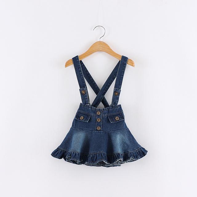 Baby girl verão Outono Denim Suspender saia crianças moda jeans chaves skrit