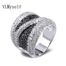 2020 Wide Black and White Cubic Zirconia Finger Ring Trendy Wholesale Jewelry Gorgeous Copper metal Fashion Large Rings