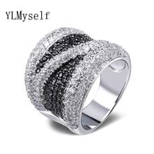 2020 grande preto e branco zircônia cúbica anel de dedo na moda por atacado jóias lindo cobre metal moda grandes anéis