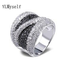 2020 szeroki czarny i biała cyrkonia sześcienna palec pierścień Trendy hurtownie biżuteria wspaniały miedź metal moda duże pierścienie