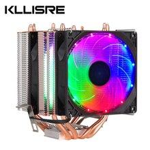 CPU Fan soğutucu Intel ve AMD işlemci 4 isı boruları soğutma 4PIN CPU radyatör 3 Fan