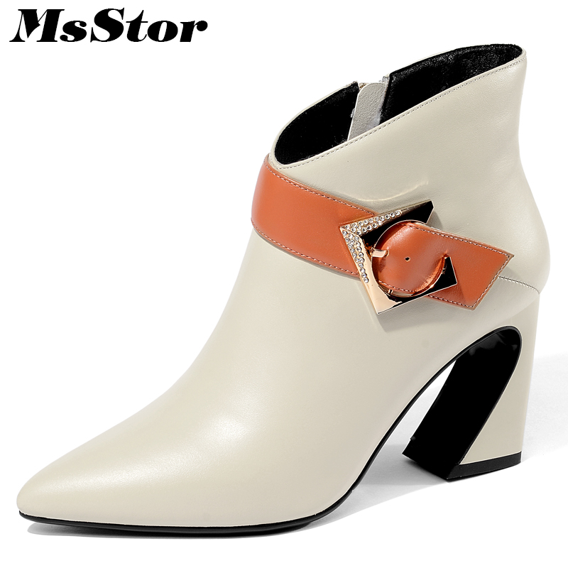 MsStor Women Boots Pointed Toe Square Heel Ankle Boots For Woman Fashion Sexy High Heel Zipper Buckle Black Boot Shoes For Girl double buckle flat heel zipper boots