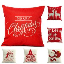 17 Patterns Chriatmas Cover Printed Pillow Case Cushion Case Red Cover for Decoration Christmas Party Santa Claus Cover(China)