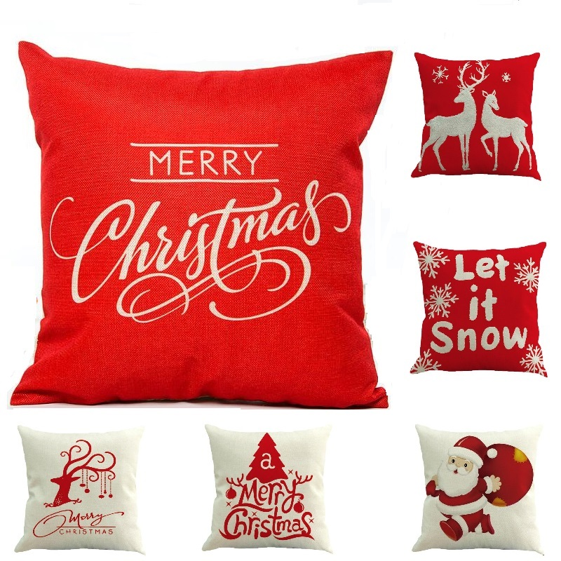 17 Patterns Chriatmas Cover Printed Pillow Case Cushion Case Red Cover for Decoration Christmas Party Santa Claus Cover