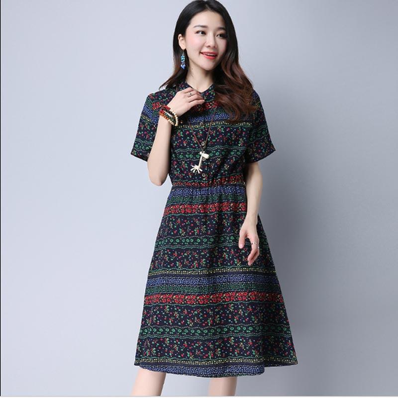 2017 New Cheap Plus Size Short Sleeves Vintage Medieval: New 2017 Summer Dress Vintage Print Long Plus Size Linen